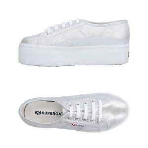 SUPERGA platform sneakers silver shoes metallic